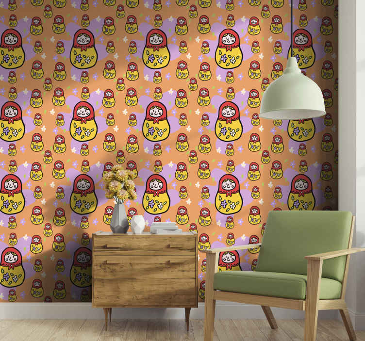TenStickers. Small and big matrioskas pattern Living Room Wallpaper. Decorative featured marioska wallpaper you would love  The colored background wallpaper contains small and big marioskas.