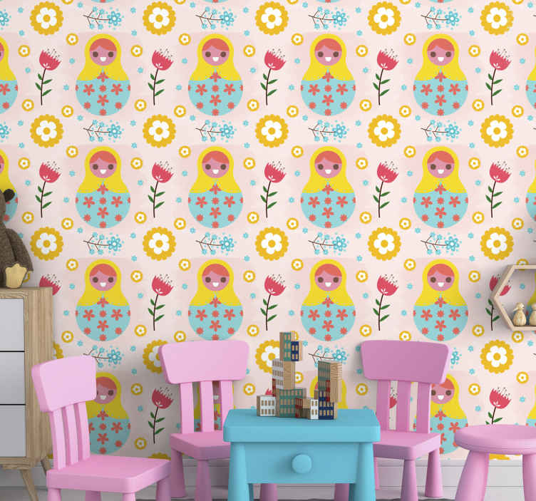 TenStickers. Beautiful matrioskas pattern Feature Living Room Wallpaper. Decorative Beautiful matrioskas pattern Wallpaper. It is original, durable, bubble free and easy to apply without any problem.