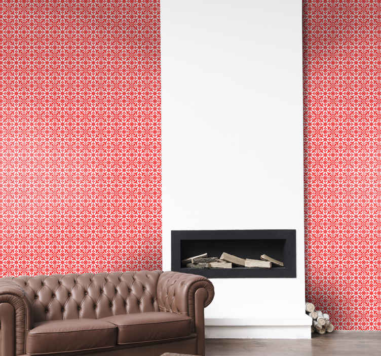TenStickers. Slavic ornament Hallway Wallpaper. Decorative Slavic patterned red wallpaper design to give an ornamental and vintage touch to your space. It is original and easy to apply.