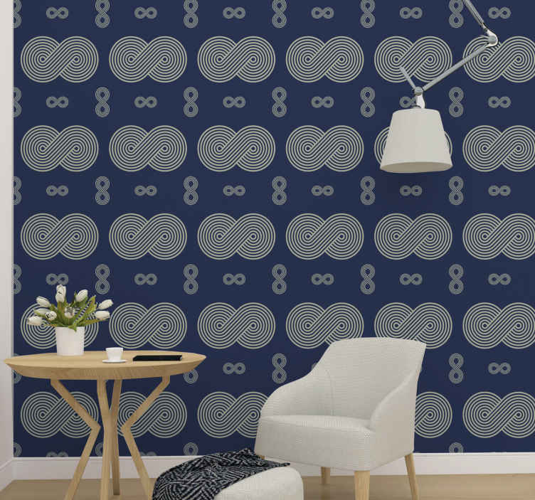 TenStickers. Infinity Symbol Living Room Wallpaper. Grey and blue colour wallpaper design made with infinity symbols. The grey symbols design are featured all over it blue background.