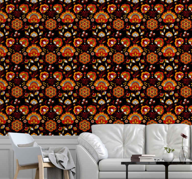 TenStickers. Floral Slavic Pattern Nature Wallpaper. Decorative pattern floral wallpaper design with a dark background. A colorful and bright  design that would fit any space applied on in a unique way.