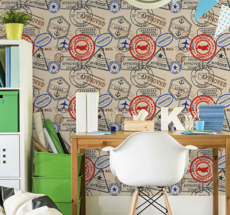 TenStickers. Travel stamps Bedroom Wallpaper. Decorative travel stamp wallpaper design with different approval entry stamps, same style as a passport. It is easy to apply and of high quality.