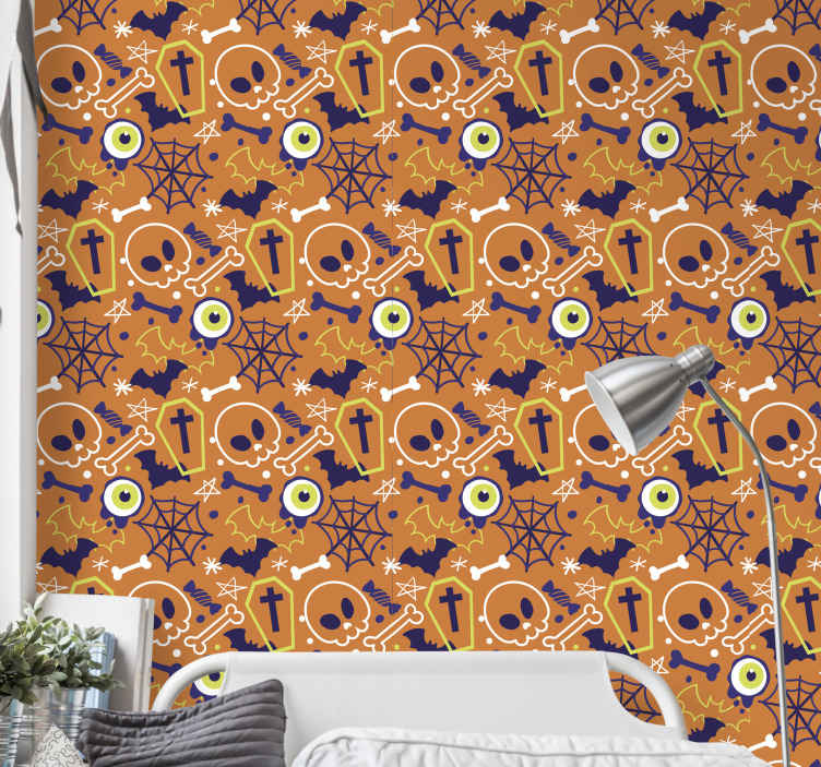 TenStickers. Ghosts bats skulls and star Orange Wallpaper. Scary Halloween featured orange wallpaper design  containing the drawings of graves, bones, skulls, stars and more. Easy to apply and of quality.