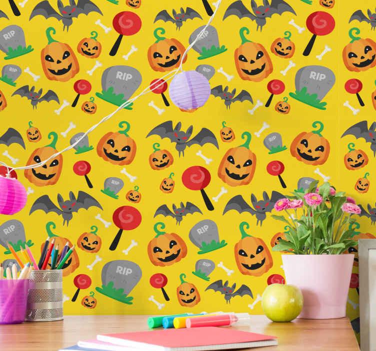 TenStickers. Hayalet yarasalar ve şeker duvar kağıdı ile sarı arka plan. Hayalet yarasa, balkabağı, şeker ve yazıtlı yırtık özellikli sarı renkli cadılar bayramı duvar kağıdı. Uygulaması kolay ve yüksek kalitede.