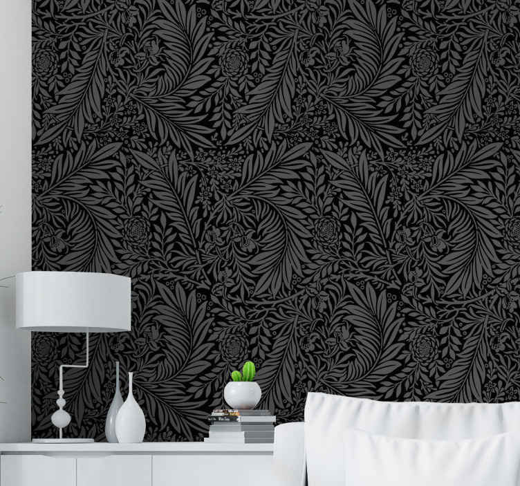 TenStickers. Black abstract patterns Halloween Room Wallpaper. Black abstract pattern ornamental wallpaper design. The design contains plants and flower patterned design with horrific Halloween impression.