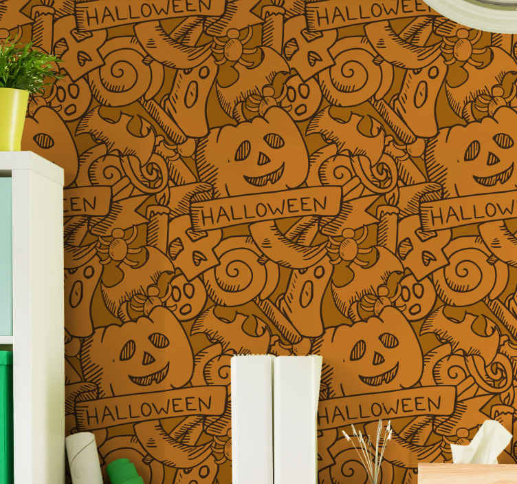 TenStickers. Bats, pumpkins and candy Orange Wallpaper. Orange background Halloween wallpaper design featured with the drawing bats, pumpkins and candies. Easy to apply and of high quality.