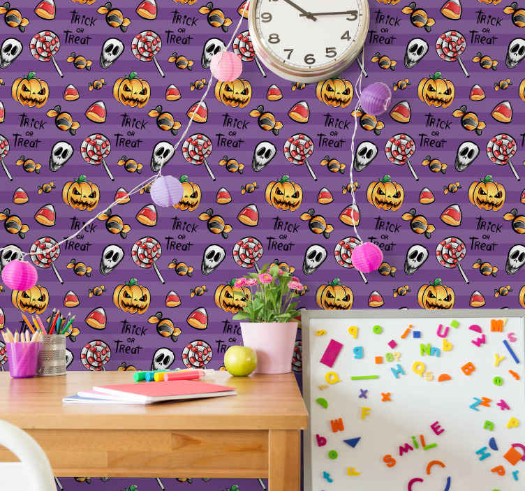 TenStickers. Trick or treat with pumpkins Orange Wallpaper.  Trick or treat with pumpkins Halloween wallpaper design for children bedroom decoration.Easy to apply and of high quality.