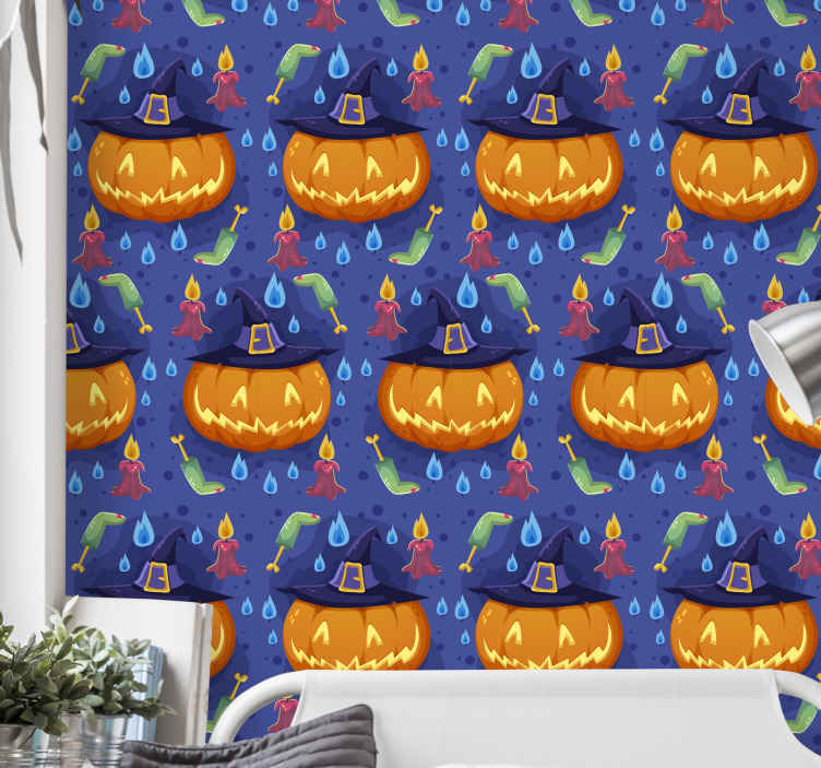 Tenstickers. Ljusa pumpor halloween orange tapet. En glad dekorativ halloween tapet för att dekorera sovrummet för barn, den har designen av pumpa, eldflammor och andra funktioner.