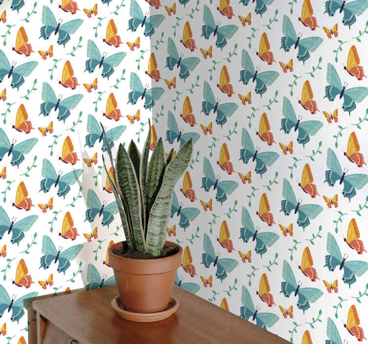 TenStickers. Bicolor Butterflies Living Room Wallpaper. What an amazing bright coloured butterflies wallpaper with bicolor. Looking for a room wallpaper for kids? then this design is a perfect choice.
