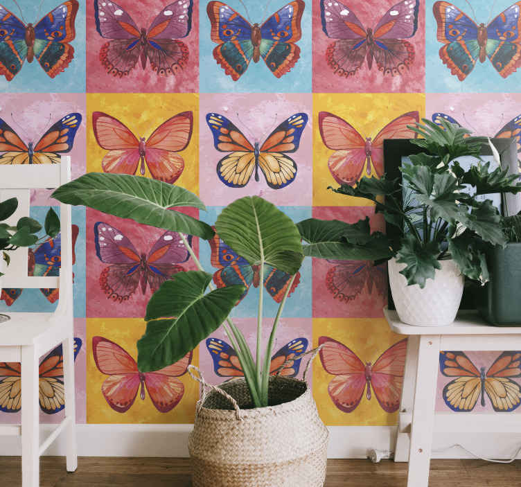 TenStickers. Multicolored butterflies Living Room Wallpaper. Different featured colorful butterflies wallpaper. This design would make any space applied on appear attractive and  lovely.