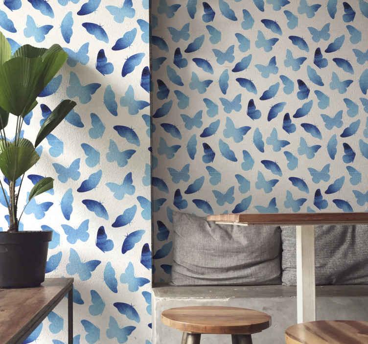 TenStickers. carta da parati con farfalle Farfalle dipinte. Carta da parati dipinta di farfalle blu per installare un look fantastico su qualsiasi spazio. Design adatto per soggiorno, corridoio, camera da letto e ufficio.