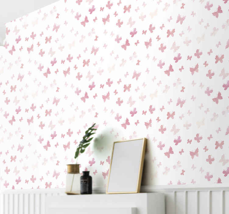 TenStickers. carta da parati con farfalle Farfalle rosa. Carta da parati per cameretta stampata con piccole farfalle rosa su sfondo bianco. Migliora lo spazio di tuo figlio in modo sorprendente con il nostro design.