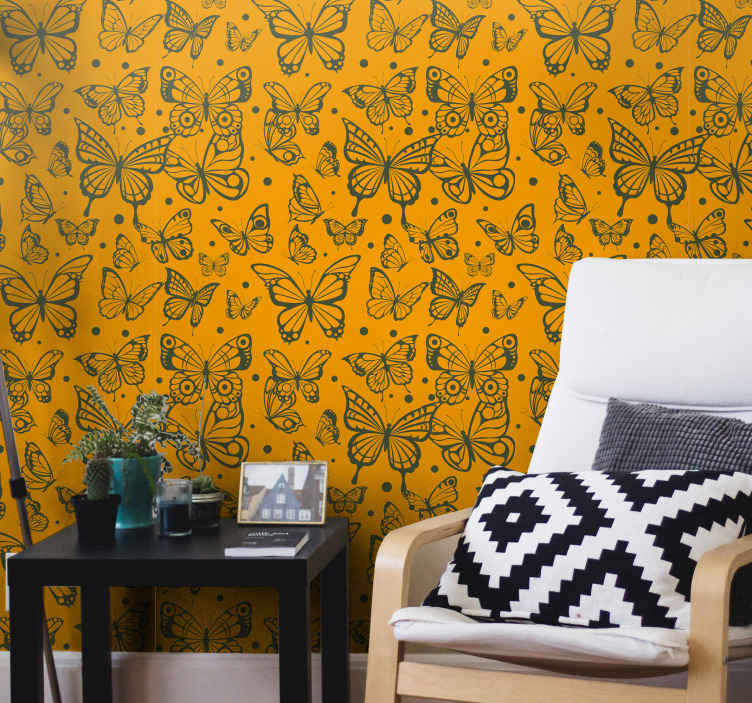 TenStickers. Trendy butterflies pattern Living Room Wallpaper. Vintage butterfly patterned wallpaper to install a fantastic look on any space. Decorative on a living room, hallway, bedroom, and business space.