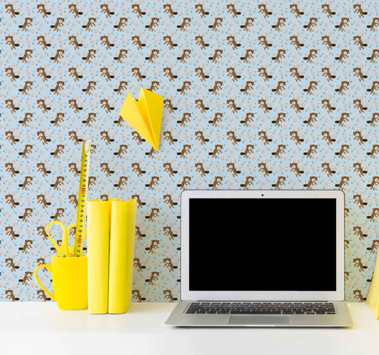 TenStickers. Beaver pattern Teenage Bedroom Wallpaper. Cute wallpaper with small beavers, perfect decoration for kids room. It is highly resistant and durable. Easy application.