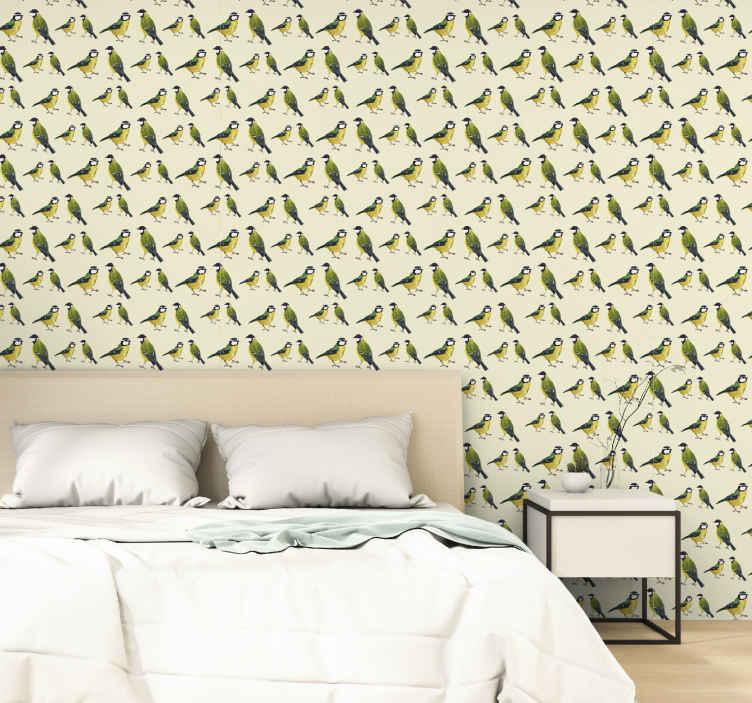 TenStickers. Tomtits 침실 벽지 패턴. 당신의 침실에 이상적인 두 마리의 로빈이있는 우아한 미묘한 벽지. 고품질 비닐 소재로 제작되어 적용하기 쉽습니다.