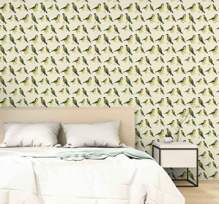 TenStickers. 与tomts卧室壁纸图案. 带有几个知更鸟的优雅微妙壁纸,非常适合您的卧室。由优质乙烯基材料制成,易于使用。