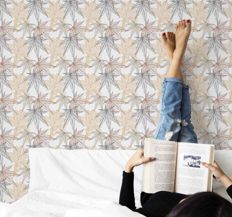 TenStickers. Leaves in a vintage style Teenage Bedroom Wallpaper. Looking for a decorative patterned leave wallpaper with vintage tone? with our vintage leave patterned wallpaper your search is ended