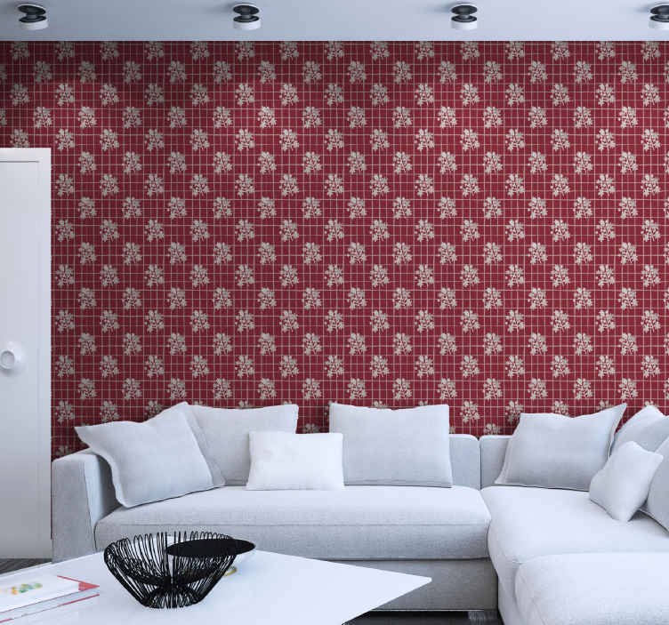 TenStickers. Geometric forms Lounge Wallpaper. Red background wallpaper with patterns imitating a fir tree with a check pattern to decorate your living room and other space.