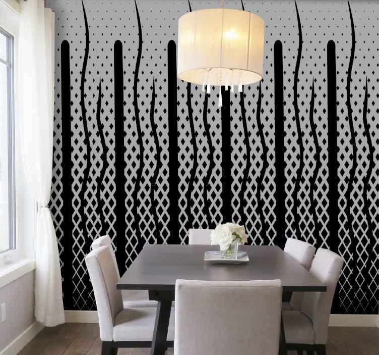 TenStickers. Siyah geziler çağdaş duvar kağıdı. Ev ve ofis dekorasyonu için gerçekçi siyah beyaz özellikli duvar kağıdı. Uygulaması kolaydır ve yüksek kaliteli malzemeden üretilmiştir.