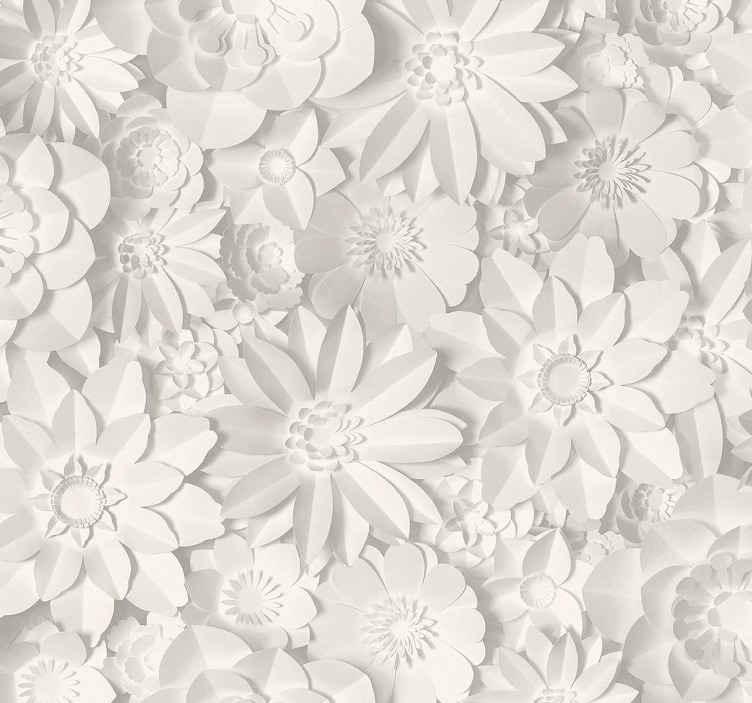 TenStickers. Carta parati 3d 3d fiori bianchi. Un fantastico motivo floreale stampa carta da parati disegnata in colore bianco e con un aspetto materico realistico.. è originale e della migliore qualità.