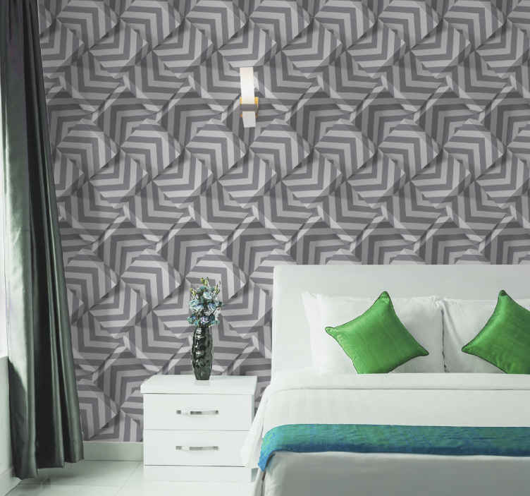 TenStickers. Modern geometric puzzle  Contemporary Wallpaper. Fantastic contemporary wallpaper roll with patterns imitating gyrometric puzzle in grey and ash colour. Ideal for an original and exclusive way.