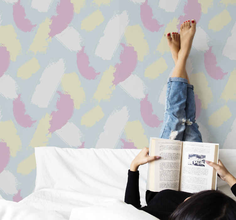 TenStickers. 多彩印象派壁纸. 多彩印象墙纸,装饰您的客厅和其他空间。彩绘混合的彩色图案的墙纸设计可以改变您的空间。