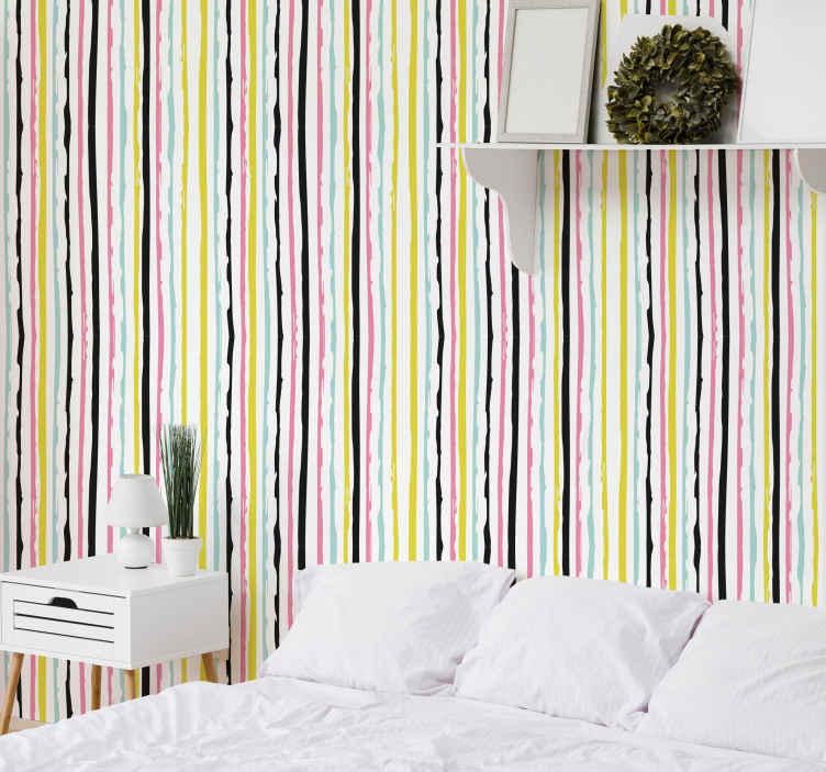 TenStickers. Renkli çizgili yatak odası duvar kağıdı. şerit tasarımı ile desenli duvar kağıdı. Bu tasarım, dikey sırada çok renkli şerit çizgileridir. Tercih edilen her alan için uygun tasarım.