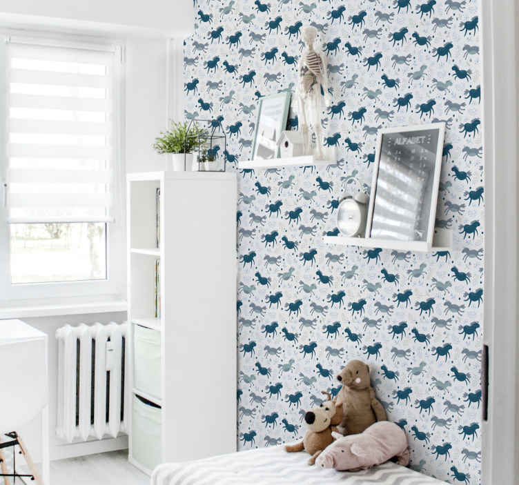 TenStickers. wallpaper with subtle horses Cool animal wallpaper. An amazing  decorative of animal prints to decorate a baby's room. Kids love pretty animals and this would be a great idea to decorate the home.