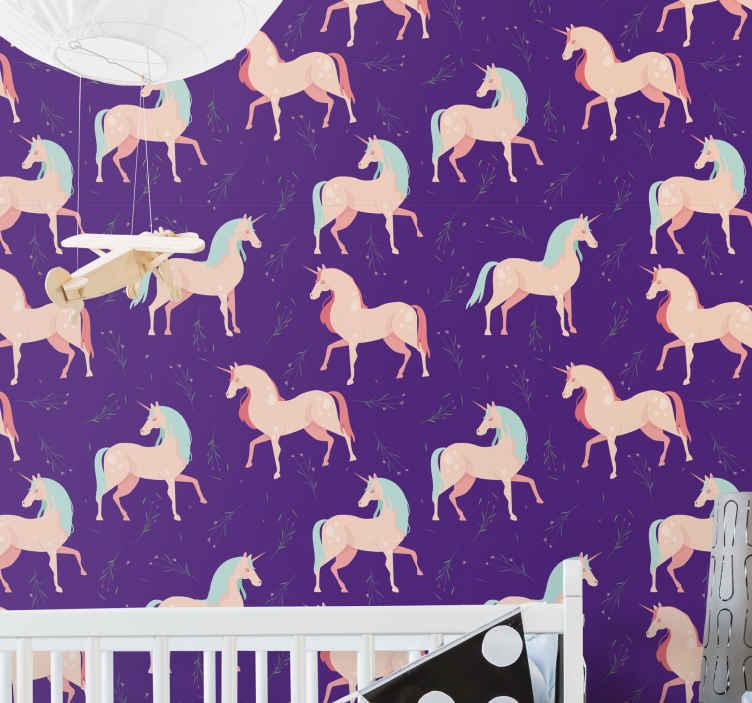 TenVinilo. Papel pared infantil morado de unicornios. Elegante papel pared infantil con estampado de unicornios para dormitorio infantil. Elige los rollos que desees. Alta calidad ¡Envío exprés!