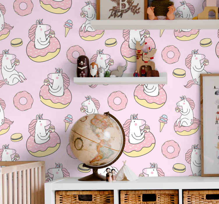 TenStickers. wallpaper pink unicorn Kids Wallpaper. Our decorative pink unicorn illustration pattern wallpaper for your child's room. Contains prints of unicorns having a swell time with ice-creams.