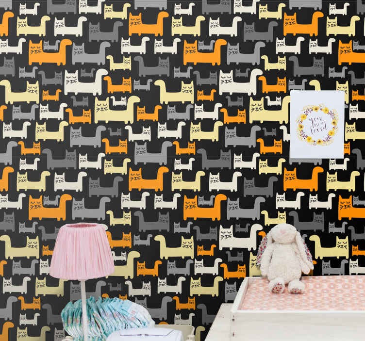 TenStickers. wallpaper gray cats Kids Wallpaper. Children wallpaper with cat pattern. The design host various prints of cats walking, they are featured in different colours. Made with of best quality