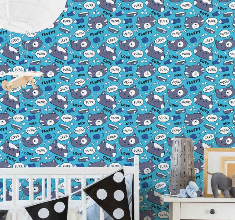 TenVinilo. Papel pared infantil caras de gatitos. Personaliza la habitación de tu hijo con este papel pintado de gatitos estampados con peces, texto, corazones de amor y más ¡Envío exprés!