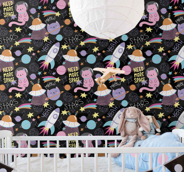 TenStickers. wallpaper cat in space Kids Wallpaper. When you are think of what to personalize your kid's bedroom with, then think of our kids room wallpaper. It is original and easy tp apply.