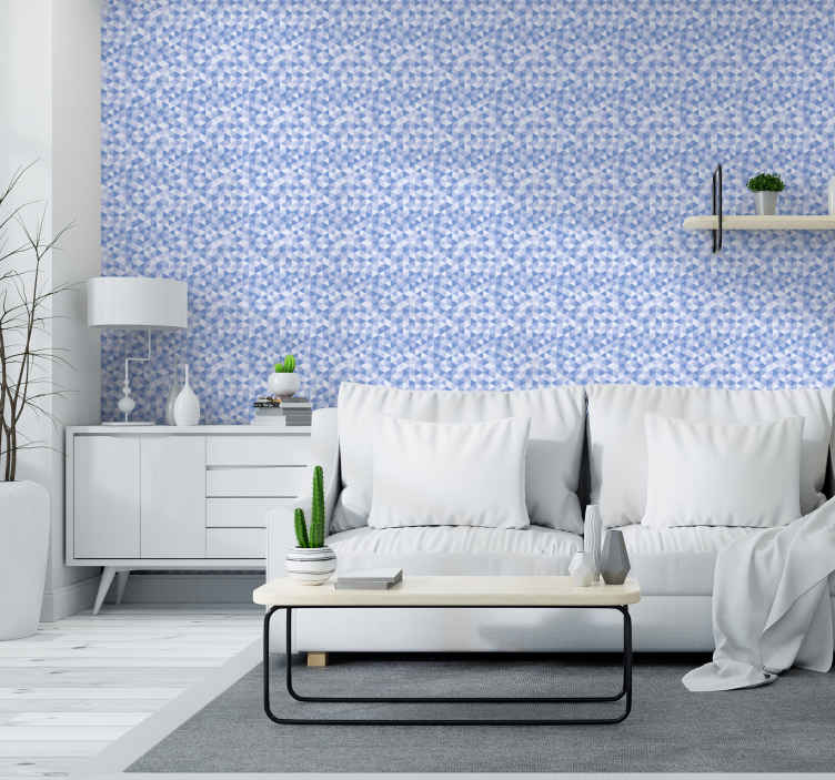 Tenstickers. Triangel och fyrkantig 3d tapet sovrum tapet. En dekorativ modern tapetdesign med flera mönster som liknar mikroskopisk geometrisk vy från en lins i blå och vit färg.