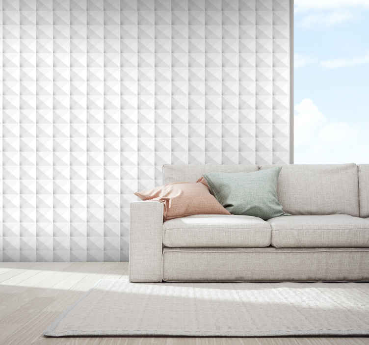 TenStickers. White square 3d wallpaper Bedroom Wallpaper. Decorative 3D luxury wallpaper design patterned with geometric textured effect in white colour. Suitable design for all space, it is of best quality.