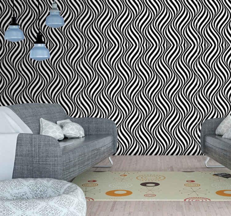 TenStickers. Tapeta 3D Monochromatyczne paski. Tapeta z wzorem geometrycznym 3d. To świetne rozwiązanie, aby ożywić monotonne ściany w jadalni.
