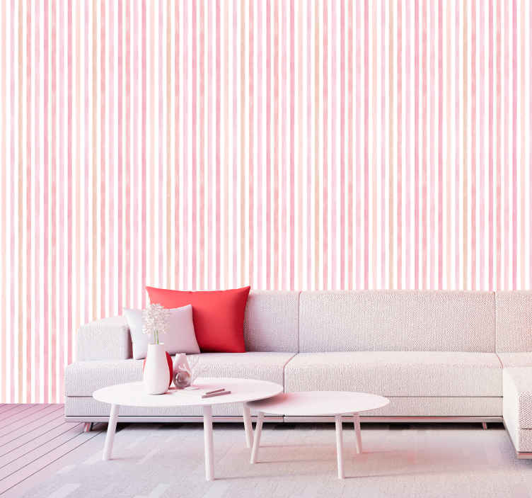 TENSTICKERS. ピンクの水彩縦縞の壁紙. ピンクの水彩画の縦縞の壁紙は、リビングルーム、ベッドルーム、さらには子供部屋に飾ることができます。スペース。