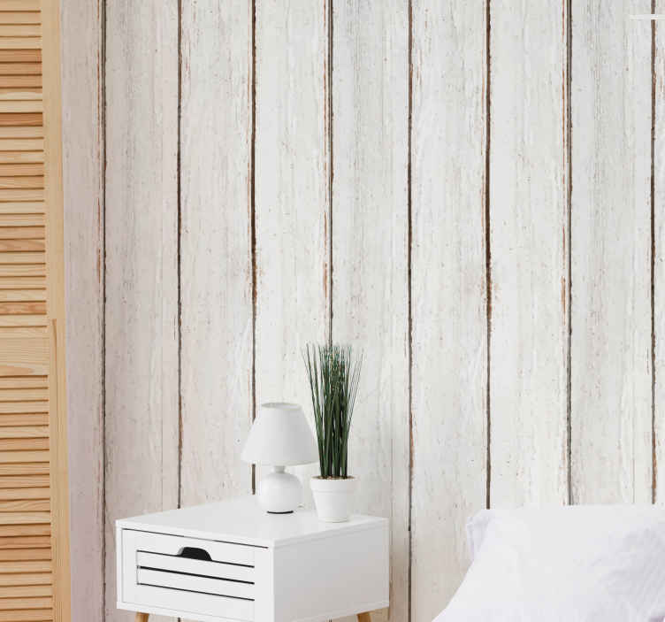 TenStickers. Vintage wood vertical striped wallpaper. Vintage wood striped wallpaper that can be decorated on a living room, bedroom and even on kitchen space. It is original and easy to apply.