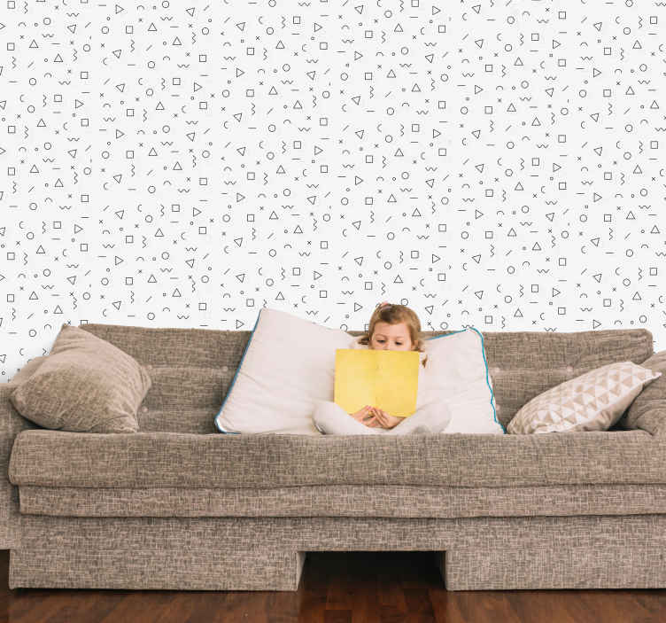 TenStickers. Memphis figures Kids Wallpaper. Instead of leaving your wall space with a plain painted surface why not enhance it with our simple geometric and arithmetic patterned wallpaper.