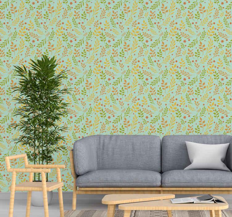 TenStickers. Amber yaprakları duvar kağıdı bırakır. Oturma odası için uygun dekoratif renkli yaprak desenli duvar kağıdı. Tasarım, kehribar yapraklarının farklı renk baskılarını göstermektedir.