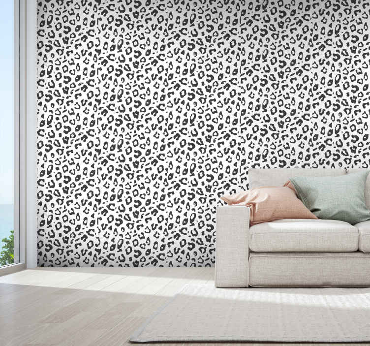 TenStickers. Black Leopard Cool animal wallpaper. Bring your home to life with our simple but interesting leopard animal patterned wallpaper design. Suitable wallpaper for living room and other space.