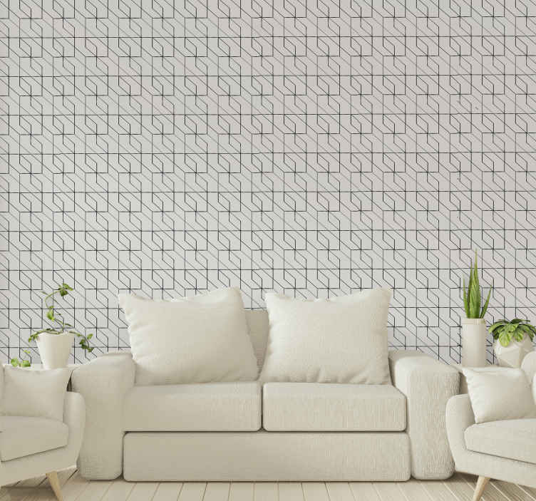 TenStickers. Geometric cross figures Lounge Wallpaper. Are you looking for simple patterned wallpaper? If yes then your search end here with this simple classic geometric wallpaper.