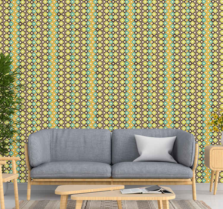 TenStickers. Beautiful rhombus Classic Wallpaper patterns. Get lost in these classic rhombus pattern wallpaper every time you look at it. High quality design to beautify your space with an inexpensive cost.