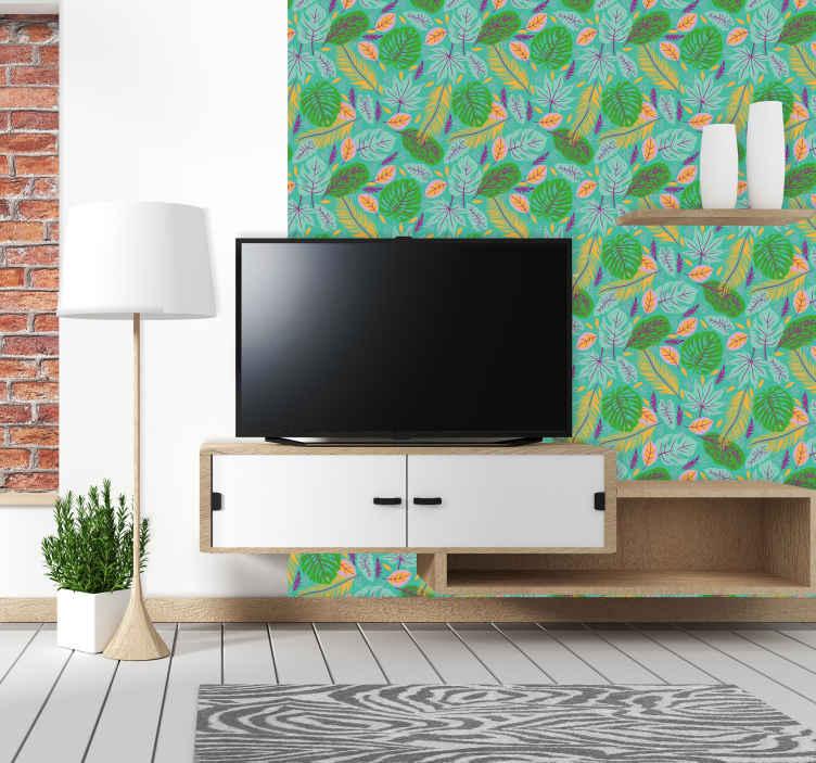 TenVinilo. Papel pintado hojas verdes estilo retro. Papel pintado hojas verdes en un estilo vintage adecuado para salón o dormitorio. Es original y fácil de aplicar ¡Decora tu casa a tu estilo!