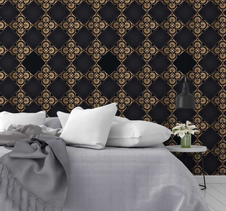 TenStickers. Textured wallpaper Royal Adoration. This luxury wallpaper will make your rooms look fancy and spectacular. This is a stylish solution for every room, especially living and dining room.