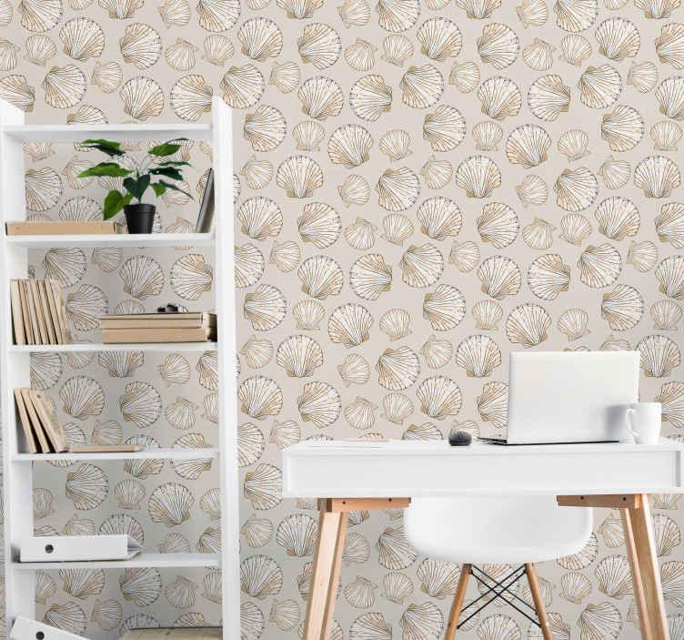 TenStickers. Papier peint mural Gros et petits coquillages. Couvrez l'espace mural de votre salon avec notre design de papier peint vintage de coquillages. La conception contient diverses feuilles de coquillages de couleur beige.