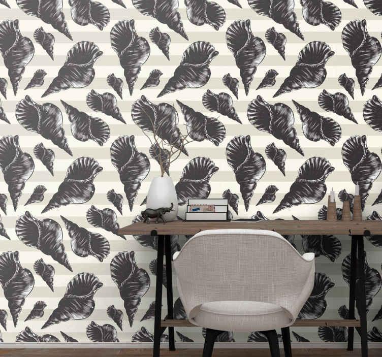TenVinilo. Papel pintado animales conchas estilo vintage. Un atractivo papel pintado animales de conchas de caracol perfecto para decorar tu salón o dormitorio. Elige los rollos ¡Fácil de colocar!