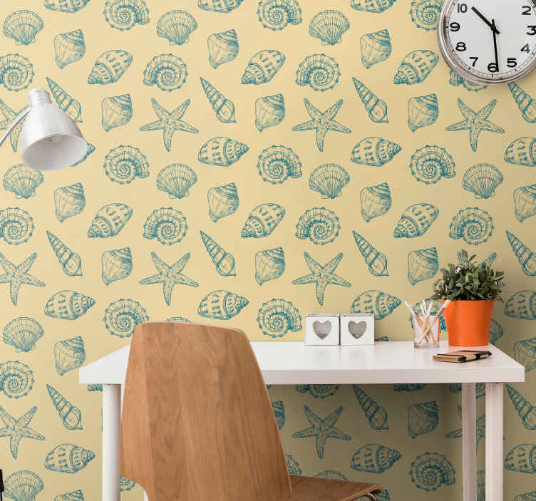 TenStickers. Hand draw seashells and starfish Seashell wallpaper. Give your room a new life without having to paint it but decorating with our original wallpaper with different seashell prints. It is easy to apply.