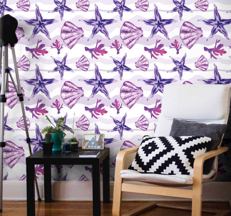 TenStickers. Purple Seashell and Starfish Seashell wallpaper. Purple wallpaper with seashells and starfish for any type of room in your house. Easy to apply on a wall and made of a high quality vinyl.