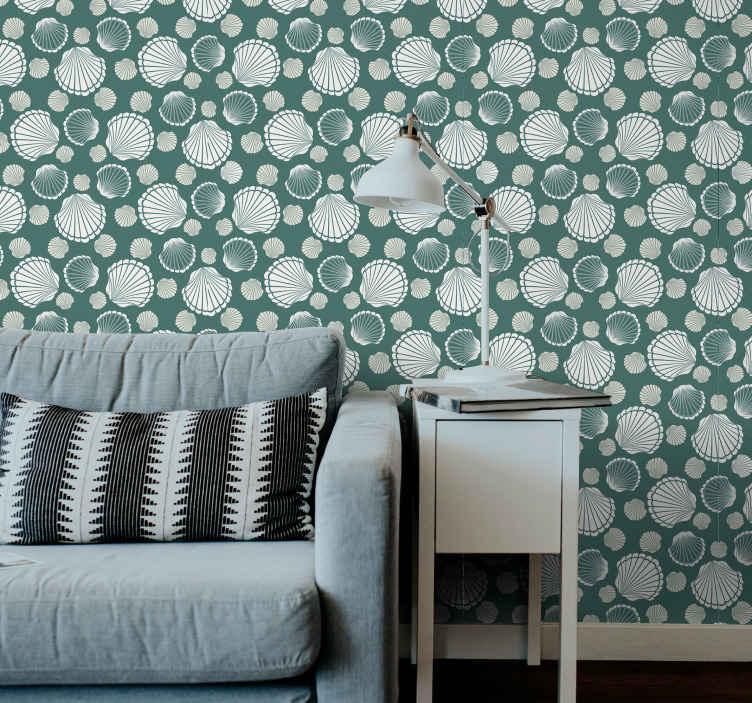 """""""Tenstickers"""". Kriauklė pasaulio kriauklė tapetai. """"seashell world shell"""" tapetai, kad jūsų namų erdvė taptų prabangesnė ir jaukesnė. Dizainas atspindi mažus ir didelius kriaukles."""